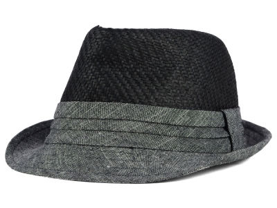 LIDS Private Label PL Straw & Textured Cotton Tonal Fedora