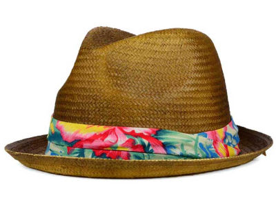 LIDS Private Label PL Tea Stained Straw Fedora with Floral Band