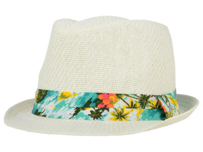 LIDS Private Label PL White Straw Fedora with Hawaiin Print Band