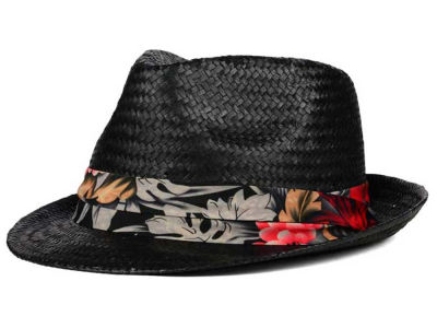 LIDS Private Label PL Black Straw Fedora with Floral Band