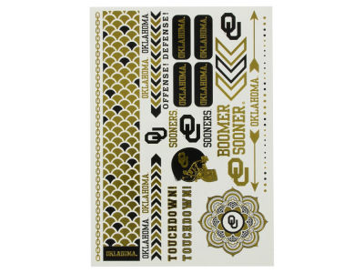 Oklahoma Sooners Metallic Tattoo Pack