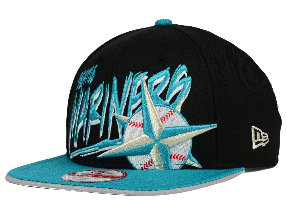 new product 74c07 61900 Seattle Mariners New Era MLB Neon Word Scribbs 9FIFTY Snapback Cap    lids.com