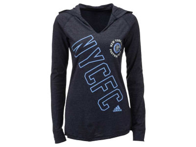 New York City FC adidas MLS Women's Vertical Slant Hooded Long Sleeve T-Shirt