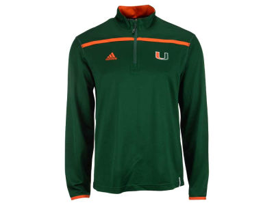 Miami Hurricanes adidas NCAA Men's Sideline Long Sleeve Knit 1/4 Zip Pullover Shirt