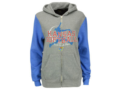 Kansas Jayhawks Retro Brand NCAA Men's Softball Rock Chalk Pitch Full Zip Hoodie