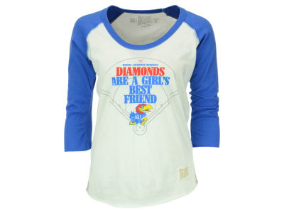 Kansas Jayhawks Retro Brand NCAA Women's Softball Diamond Best Friend Raglan T-Shirt