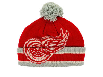 Detroit Red Wings Reebok NHL CCM Oversized Logo Cuffed Pom Knit
