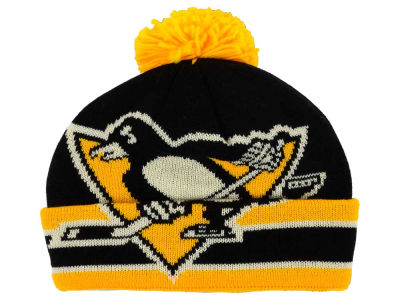 Pittsburgh Penguins Reebok NHL CCM Oversized Logo Cuffed Pom Knit