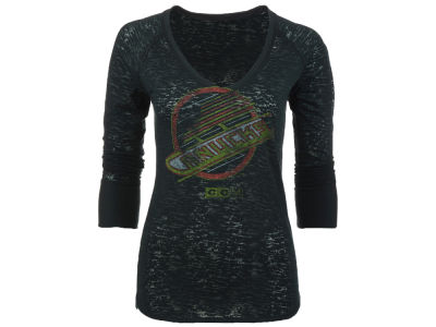 Vancouver Canucks Reebok NHL CN Women's Logo Long Sleeve Burnout T-Shirt