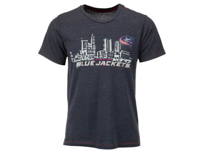 Columbus Blue Jackets Majestic NHL Men's Triblend Contrast Stitch Skyline T-Shirt