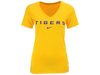 LSU Tigers Nike NCAA Women's Arch Cotton Mid V-Neck T-Shirt