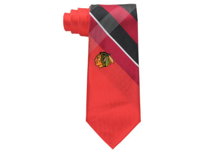Chicago Blackhawks Woven Poly Grid Tie