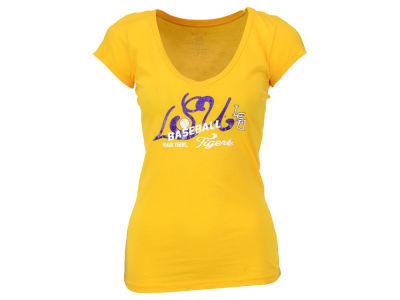 LSU Tigers Blue 84 NCAA Women's Jrs Five One Baseball T-Shirt