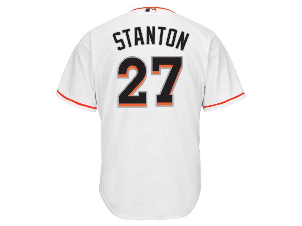 849f6e064 ... czech miami marlins giancarlo stanton majestic mlb mens player replica  cool base jersey 9b513 da44f