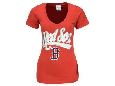 Boston Red Sox Dustin Pedroia 5th & Ocean MLB Women's Foil Player V-Neck T-Shirt