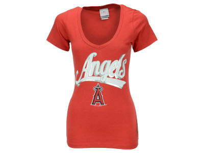 Los Angeles Angels Mike Trout 5th & Ocean MLB Women's Foil Player V-Neck T-Shirt