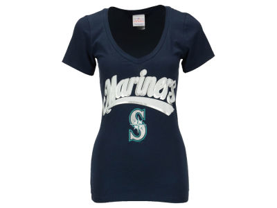 Seattle Mariners Felix Hernandez 5th & Ocean MLB Women's Foil Player V-Neck T-Shirt
