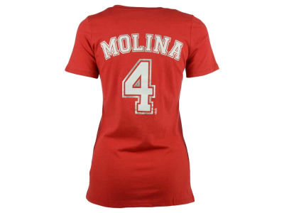St. Louis Cardinals Yadier Molina 5th & Ocean MLB Women's Foil Player V-Neck T-Shirt