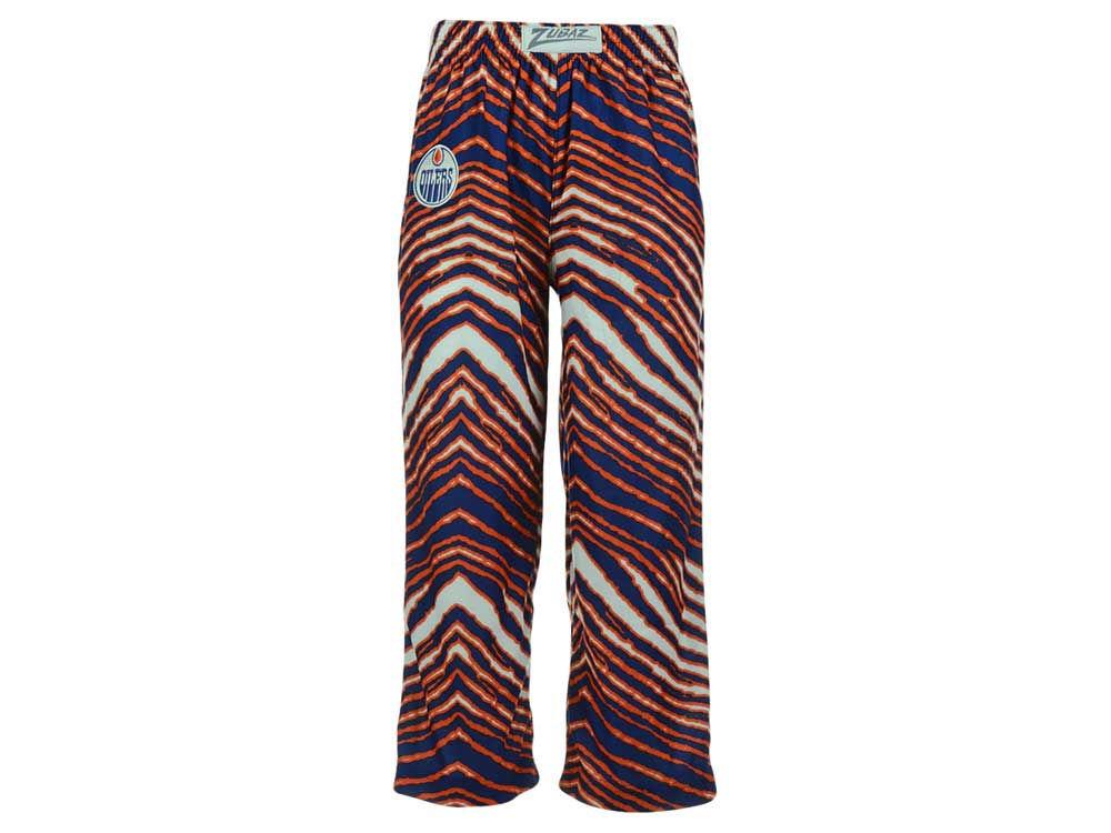 edmonton oilers reebok nhl toddler zebra zubaz pajama pants