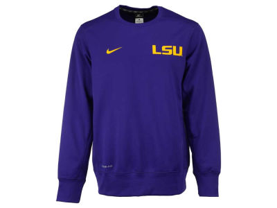 LSU Tigers Nike NCAA Men's Sideline KO Fleece Crew Neck Sweatshirt