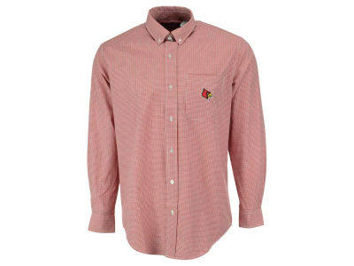 Louisville Cardinals NCAA Men's PM Gingham Woven Button Up Shirt