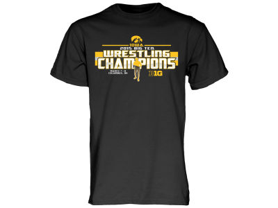 Iowa Hawkeyes Blue 84 NCAA Men's 2015 Big 10 Wrestling Champs T-Shirt