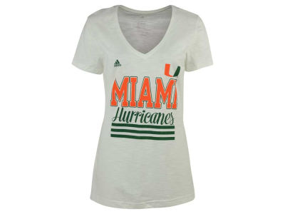 Miami Hurricanes adidas NCAA Women's 3 Stripe Stack T-Shirt