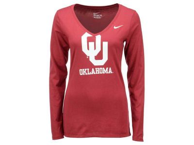 Oklahoma Sooners Nike NCAA Women's Mid V Logo Long Sleeve T-Shirt