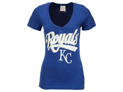 Kansas City Royals Alex Gordon 5th & Ocean MLB Women's Foil Player V-Neck T-Shirt