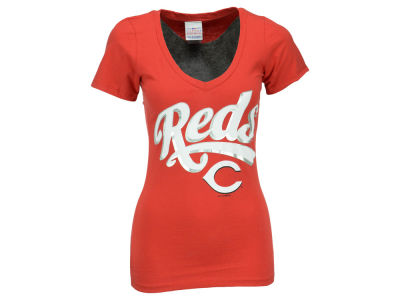 Cincinnati Reds Brandon Phillips 5th & Ocean MLB Women's Foil Player V-Neck T-Shirt