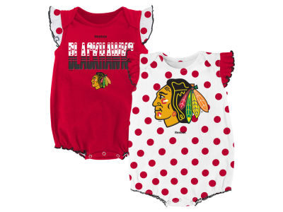 Chicago Blackhawks adidas NHL Newborn Polka Fan Creeper Set