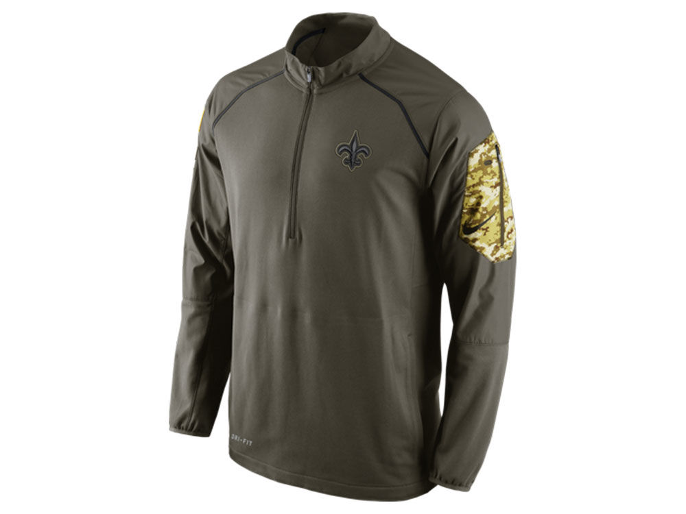 716cbb713 New Orleans Saints Nike NFL Men s Salute to Service Hybrid 1 4 Zip Pullover  Shirt