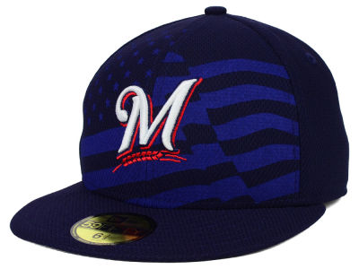 Milwaukee Brewers New Era MLB 2015 July 4th Stars & Stripes 59FIFTY Cap