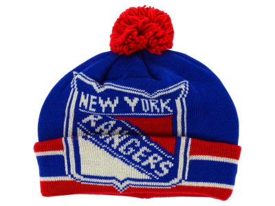 New York Rangers Reebok NHL CCM Oversized Logo Cuffed Pom Knit
