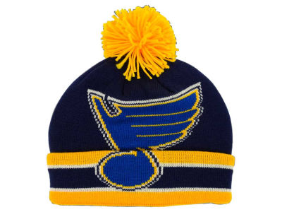 St. Louis Blues Reebok NHL CCM Oversized Logo Cuffed Pom Knit