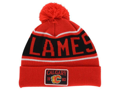 Calgary Flames Old Time Hockey NHL Juneau Pom Knit