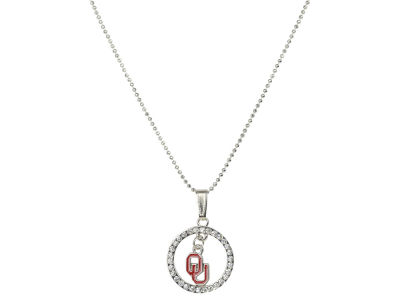 Oklahoma Sooners Circle Crystal Necklace