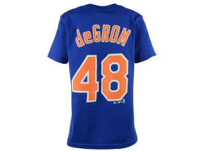 New York Mets Jacob deGrom Majestic MLB Youth Official Player T-Shirt
