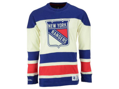 New York Rangers Mitchell and Ness NHL Men's Change On The Fly Longsleeve Jersey T-Shirt