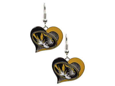Missouri Tigers Swirl Heart Earrings