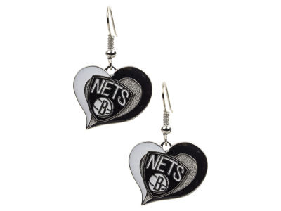 Brooklyn Nets Swirl Heart Earrings