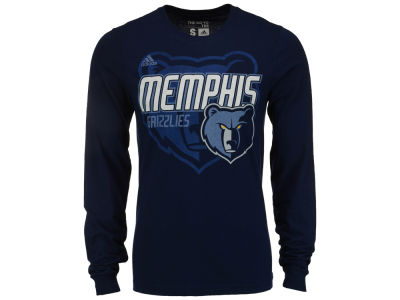 Memphis Grizzlies adidas NBA Men's Distressed Back Logo Long Sleeve T-Shirt