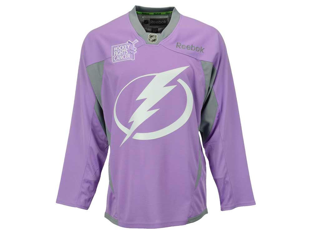 Tampa Bay Lightning Reebok NHL Men s Hockey Fights Cancer Practice Jersey  10f0a82ee