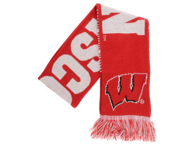 Wisconsin Badgers Acrylic Knit Scarf Reversible Split Logo