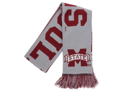 Mississippi State Bulldogs Acrylic Knit Scarf Reversible Split Logo