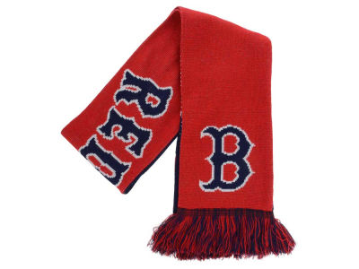 Boston Red Sox Acrylic Knit Scarf Reversible Split Logo
