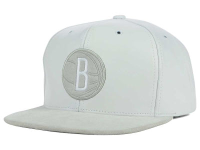 Brooklyn Nets Mitchell and Ness NBA All White Lux Collection Cap