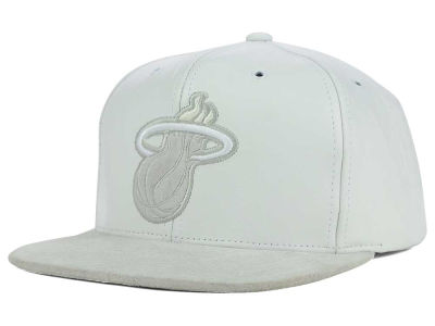 Miami Heat Mitchell and Ness NBA All White Lux Collection Cap