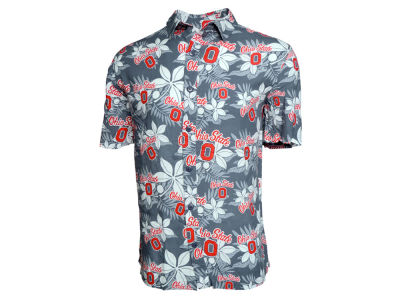 Ohio State Buckeyes NCAA Men's Block O Hawaiian Button Up Shirt