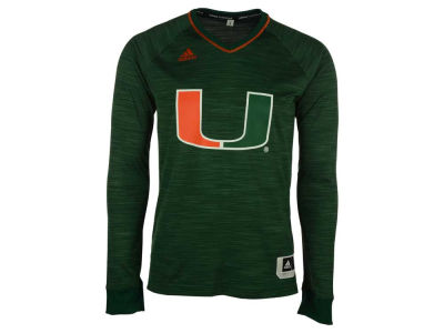 Miami Hurricanes adidas NCAA Men's On Court Long Sleeve Shooter T-Shirt